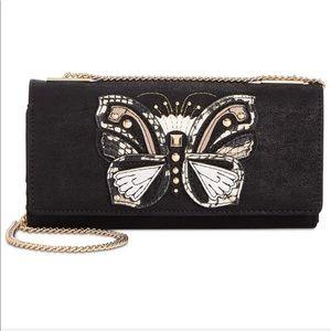 Butterfly Suede Crossbody Chain Strap Wallet Purse